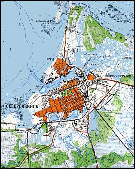 карта северодвинска со