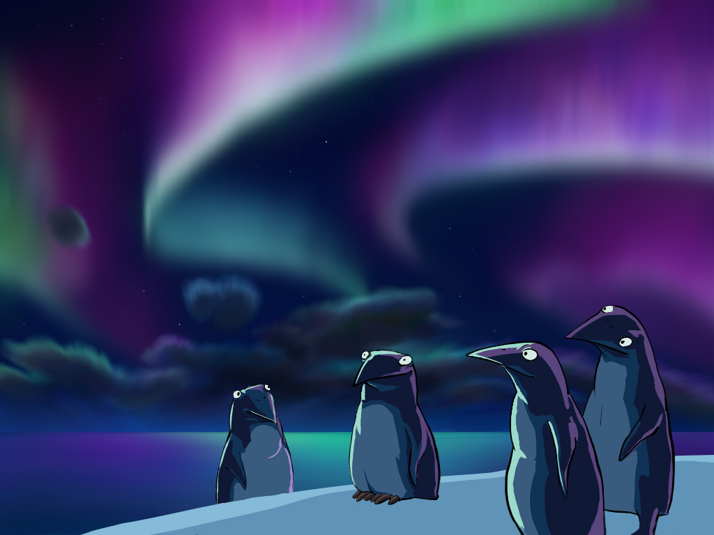Наиболее часто полярные сияния имеют вид лент или пятен, напоминающих облака.  Более интенсивное сияние приобретает...